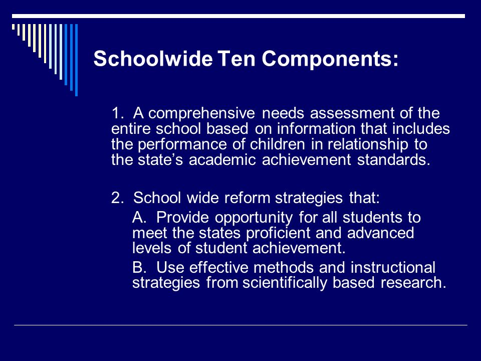 Schoolwide Ten Components: 1.