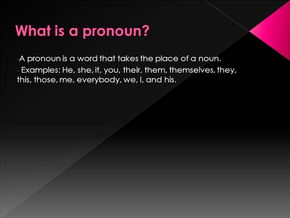 - A pronoun is a word that takes the place of a noun.