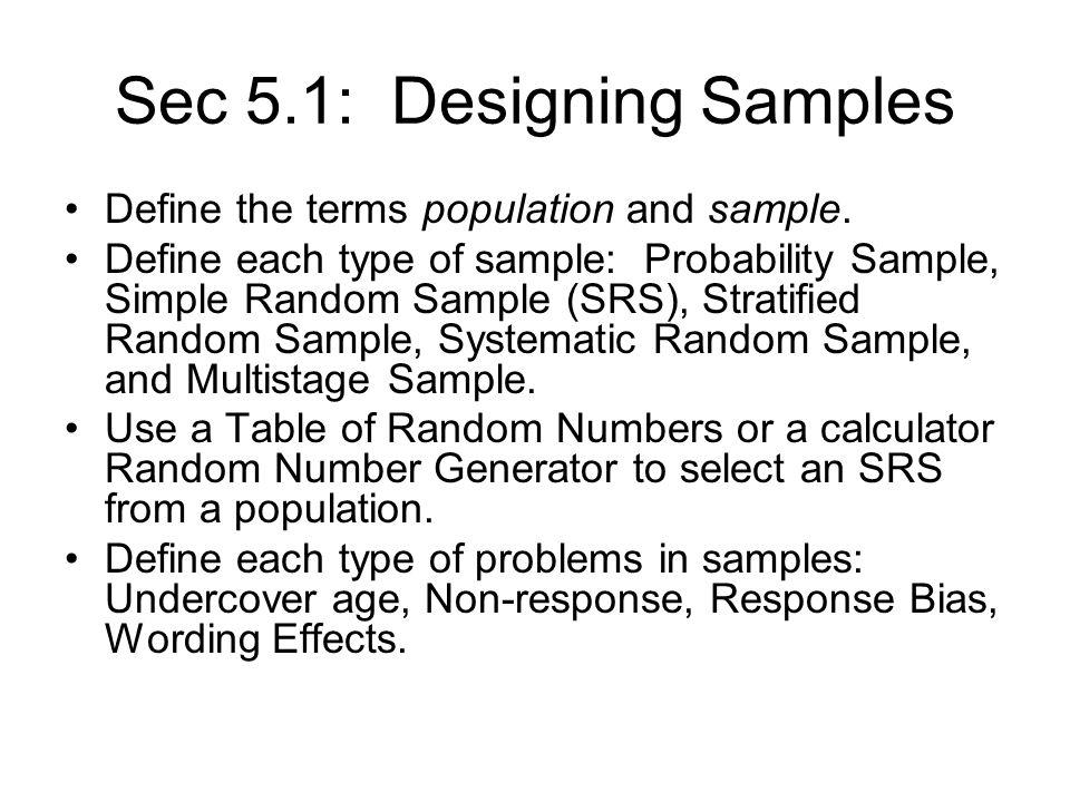 Unit 3 Review. Sec 5.1: Designing Samples Define the terms ...