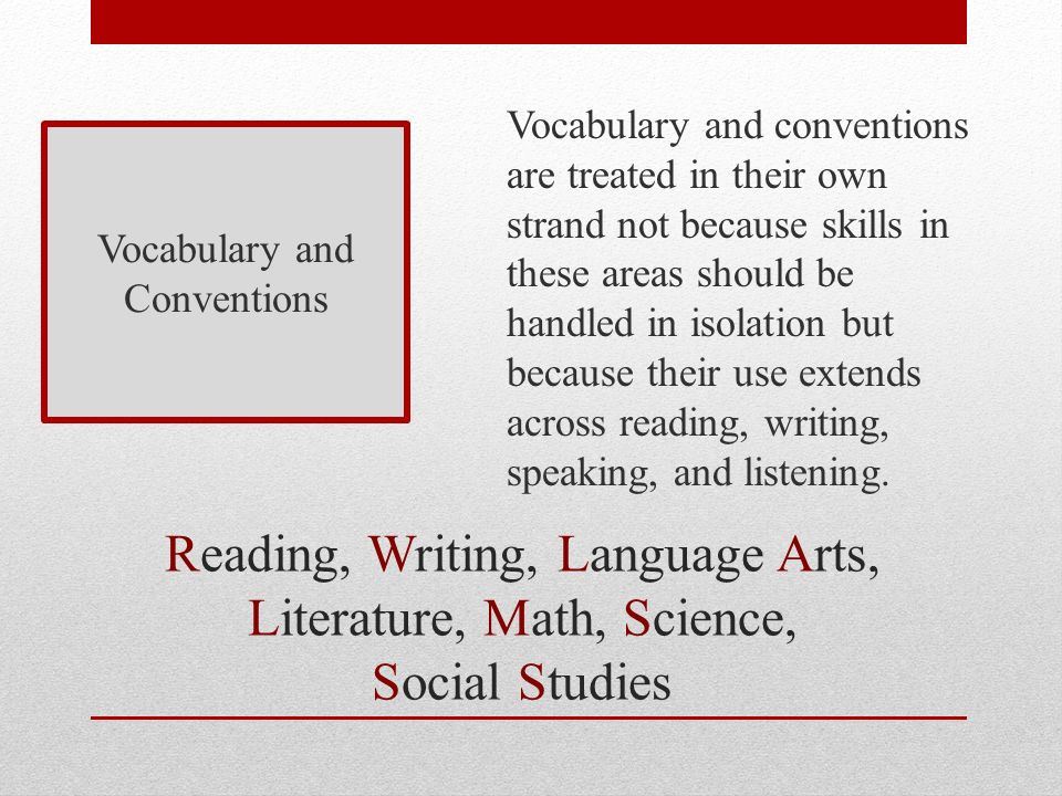 Reading, Writing, Language Arts, Literature, Math, Science, Social Studies Vocabulary and Conventions Vocabulary and conventions are treated in their own strand not because skills in these areas should be handled in isolation but because their use extends across reading, writing, speaking, and listening.