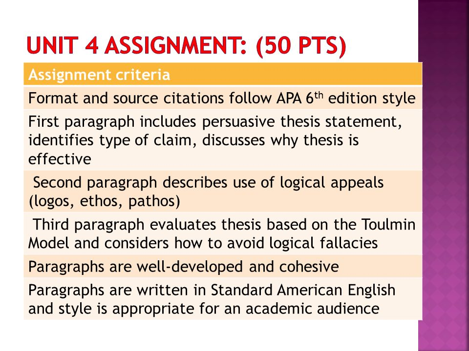 apa format for a thesis statement