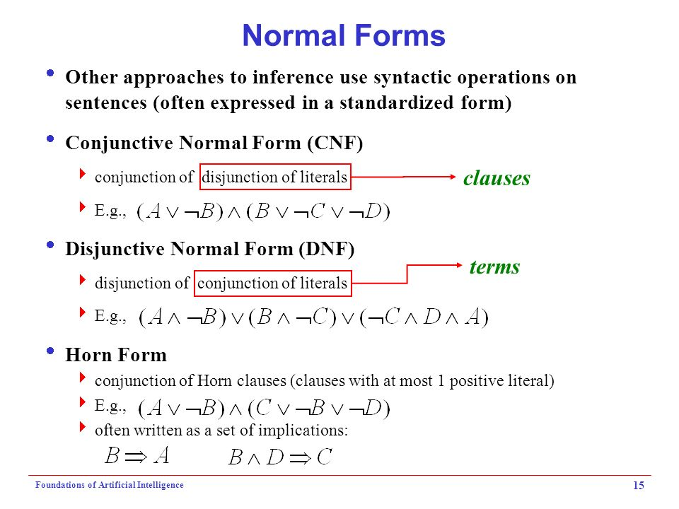 Logic & Knowledge Representation I Foundations of Artificial ...