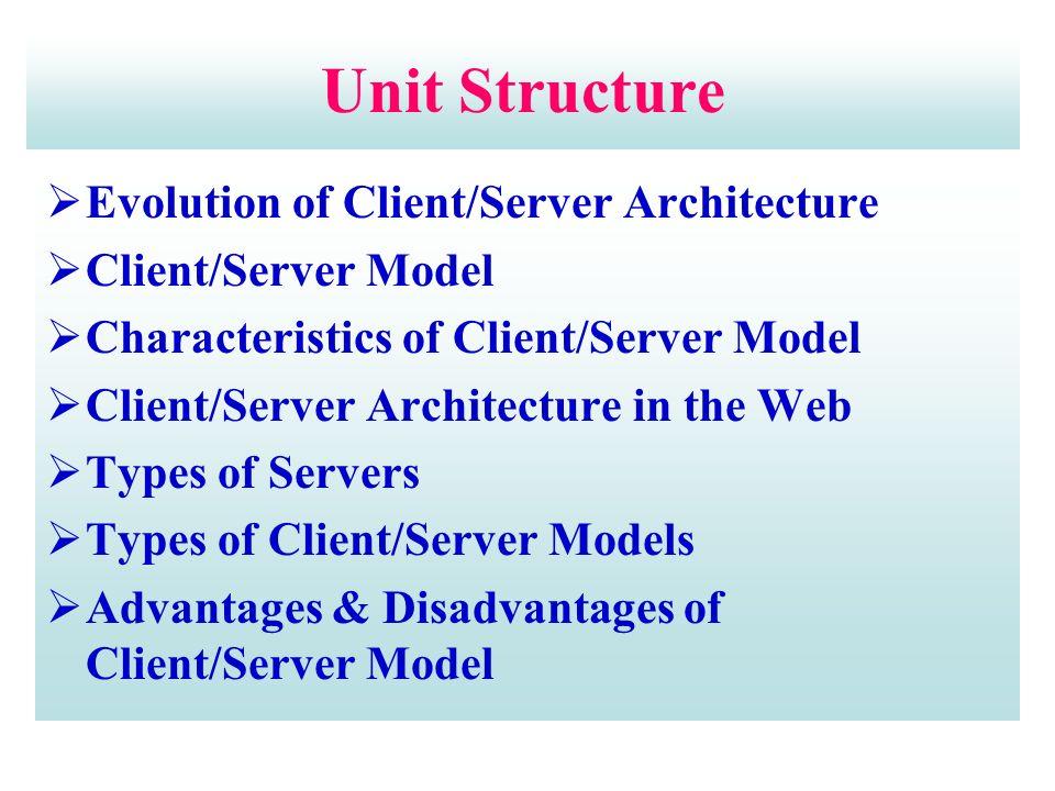 Unit Structure  Evolution of Client/Server Architecture  Client/Server Model  Characteristics of Client/Server Model  Client/Server Architecture in the Web  Types of Servers  Types of Client/Server Models  Advantages & Disadvantages of Client/Server Model
