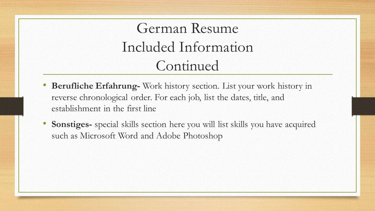 American Resume Writing Styles Welcome Spanish German Job