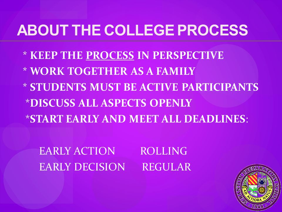 ABOUT THE COLLEGE PROCESS * KEEP THE PROCESS IN PERSPECTIVE * WORK TOGETHER AS A FAMILY * STUDENTS MUST BE ACTIVE PARTICIPANTS *DISCUSS ALL ASPECTS OPENLY *START EARLY AND MEET ALL DEADLINES: EARLY ACTION ROLLING EARLY DECISION REGULAR