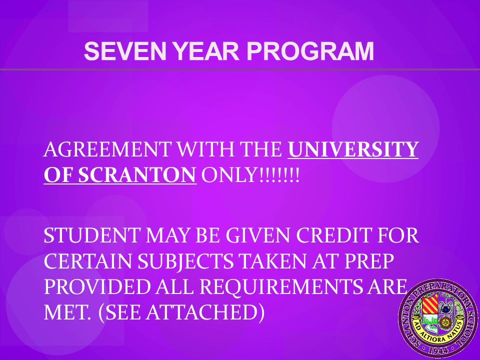SEVEN YEAR PROGRAM AGREEMENT WITH THE UNIVERSITY OF SCRANTON ONLY!!!!!!.