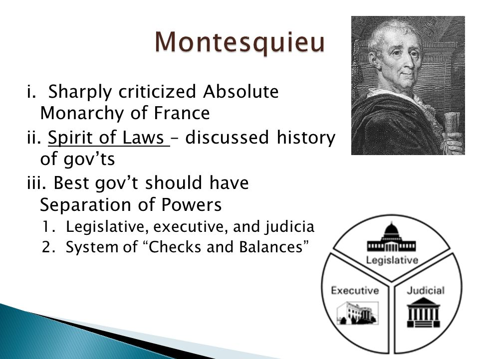 i. Sharply criticized Absolute Monarchy of France ii.