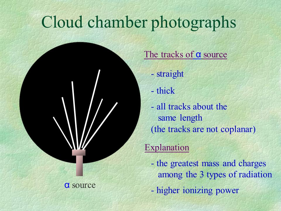 Cloud chamber photographs α source The tracks of α source - straight - thick - all tracks about the same length (the tracks are not coplanar) Explanation - the greatest mass and charges among the 3 types of radiation - higher ionizing power