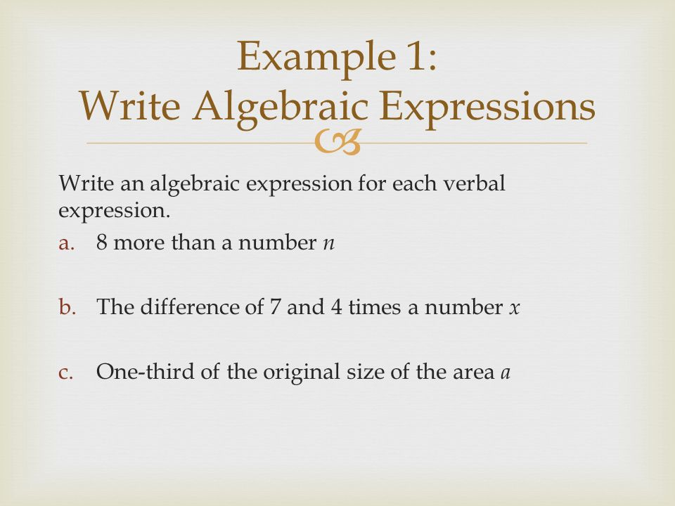 write a verbal expression for each algebraic expression Write an algebraic expression for each verbal expression then simplify, indicating the properties used name date period pdf pass chapter 1 15 glencoe algebra 1.