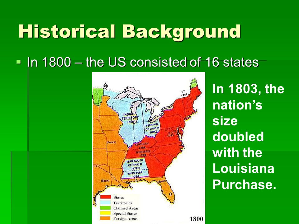 Historical Background  In 1800 – the US consisted of 16 states In 1803, the nation's size doubled with the Louisiana Purchase.