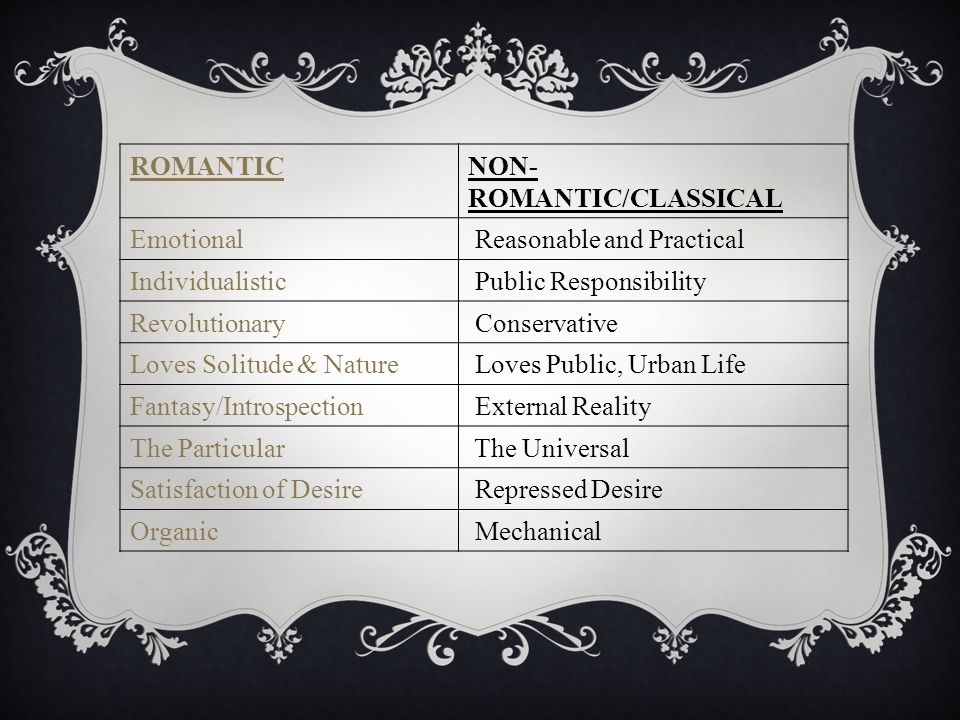 ROMANTICNON- ROMANTIC/CLASSICAL Emotional Reasonable and Practical Individualistic Public Responsibility Revolutionary Conservative Loves Solitude & Nature Loves Public, Urban Life Fantasy/Introspection External Reality The Particular The Universal Satisfaction of Desire Repressed Desire Organic Mechanical