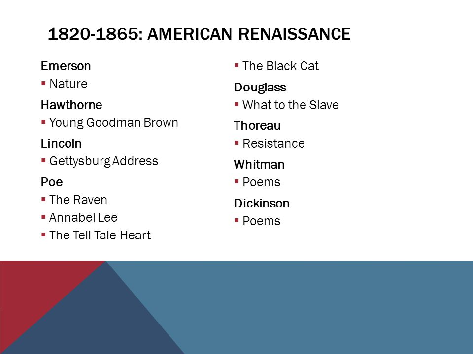 : AMERICAN RENAISSANCE Emerson  Nature Hawthorne  Young Goodman Brown Lincoln  Gettysburg Address Poe  The Raven  Annabel Lee  The Tell-Tale Heart  The Black Cat Douglass  What to the Slave Thoreau  Resistance Whitman  Poems Dickinson  Poems