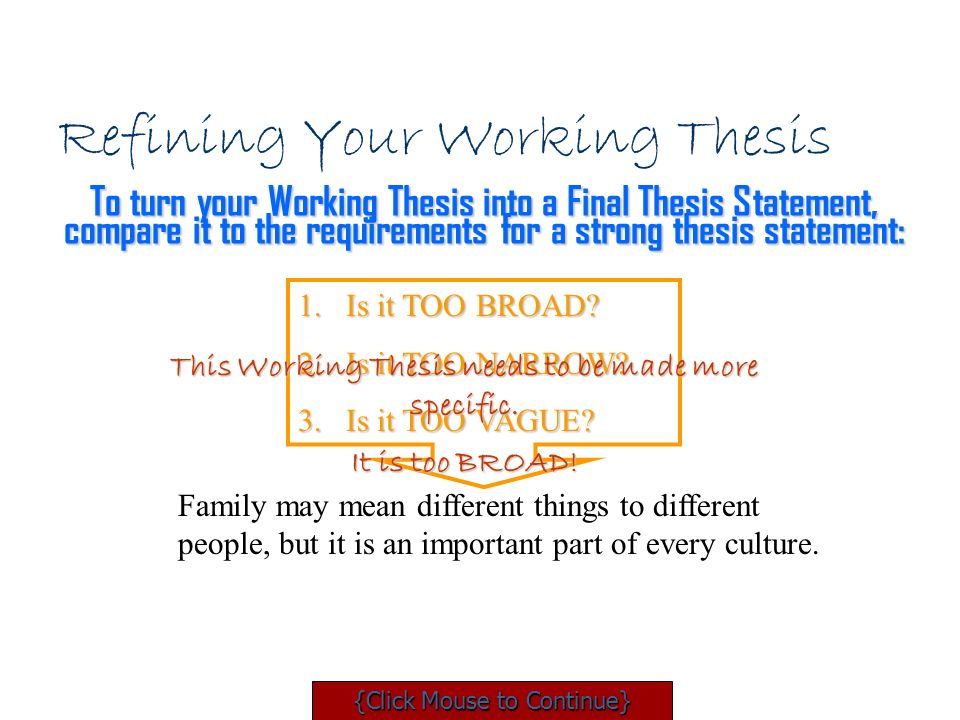 work on thesis Welcome to the purdue owl remember that the main thrust of your thesis statement restate your thesis and outline further research or work you.