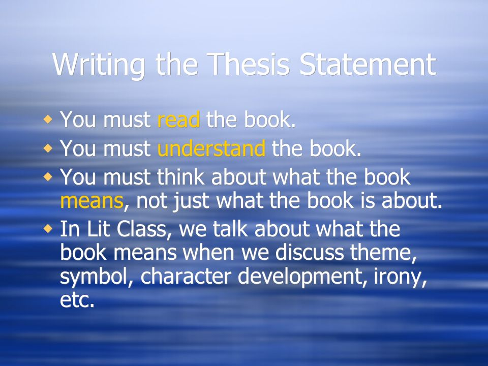 literary research paper thesis statement This handout provides examples and description about writing papers in literature it discusses research a debatable thesis statement like any argument paper.