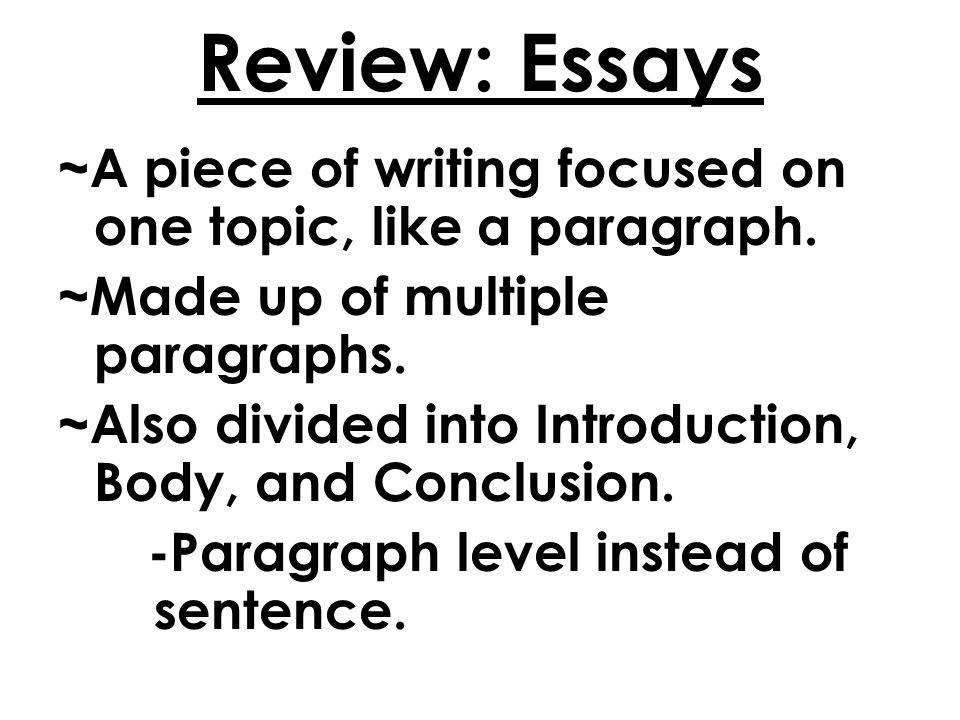 english and bible miss mccoy lesson conclusions parables  review essays a piece of writing focused on one topic like a paragraph