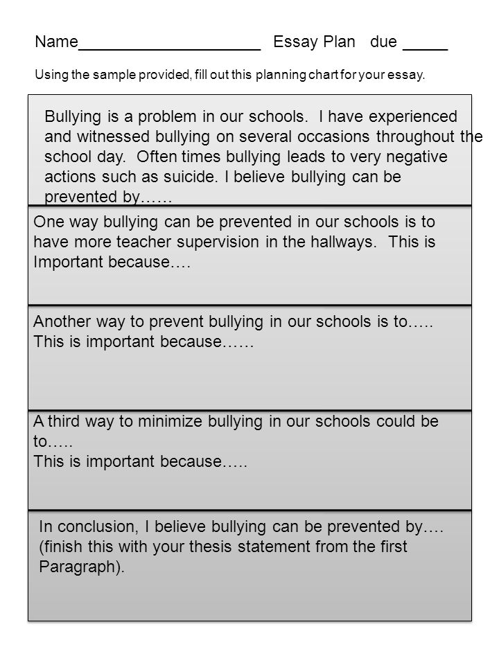 due school violence seems to be   essay plan due using the sample provided fill out this planning chart for
