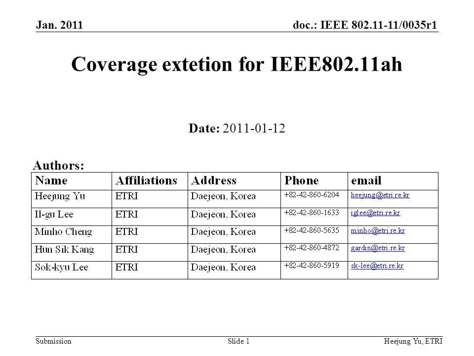 doc.: IEEE /0035r1 Submission Jan.