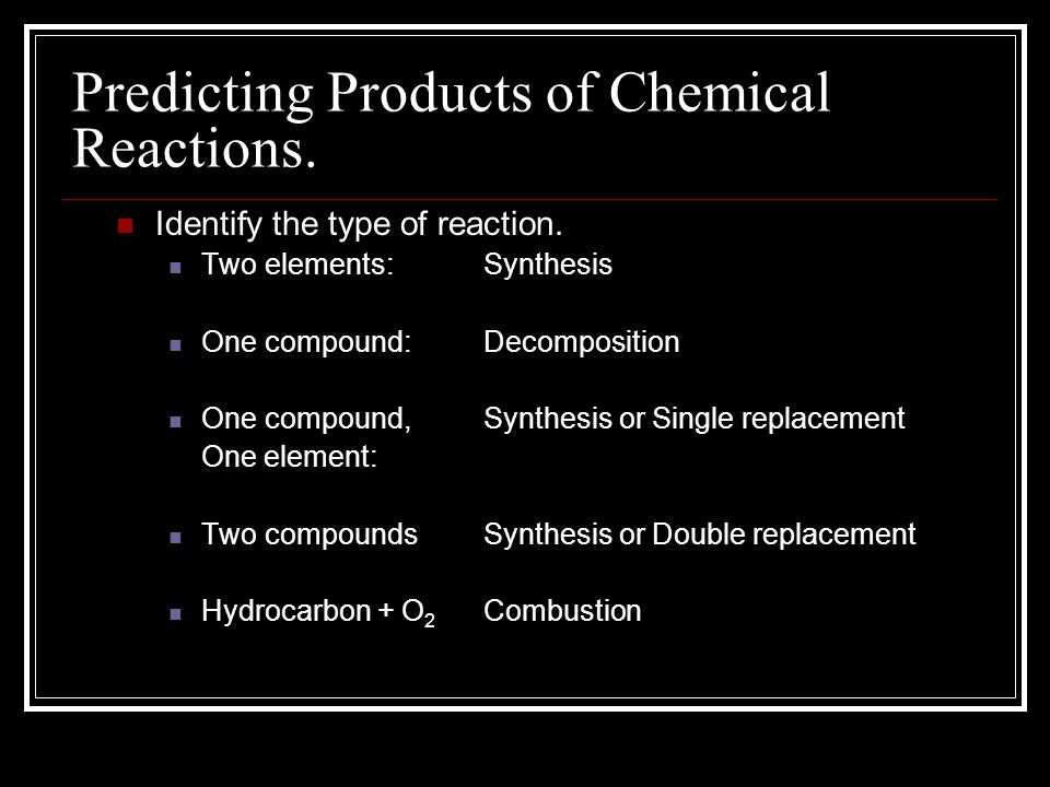 Predicting Products of Chemical Reactions. Identify the type of ...