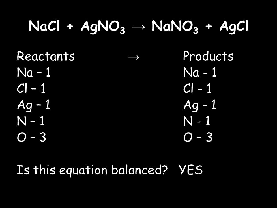NaCl + AgNO 3 → NaNO 3 + AgCl Reactants → Products Na – 1Na - 1 Cl – 1Cl - 1 Ag – 1Ag - 1 N – 1N - 1O – 3 Is this equation balanced.