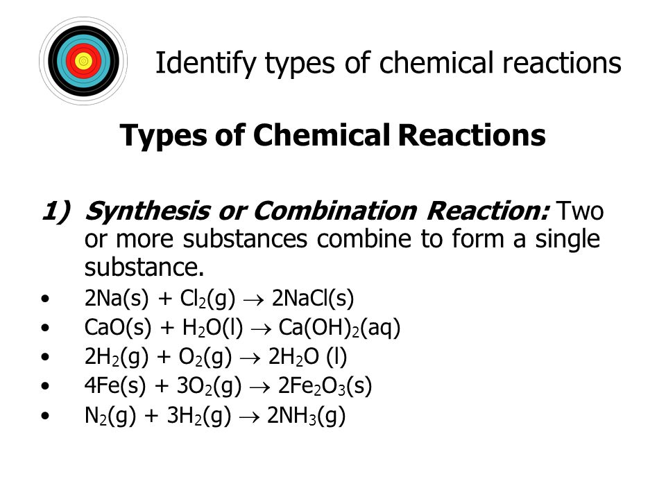 Chap. 8: Chemical Reactions Deduce the chemical equations when all ...