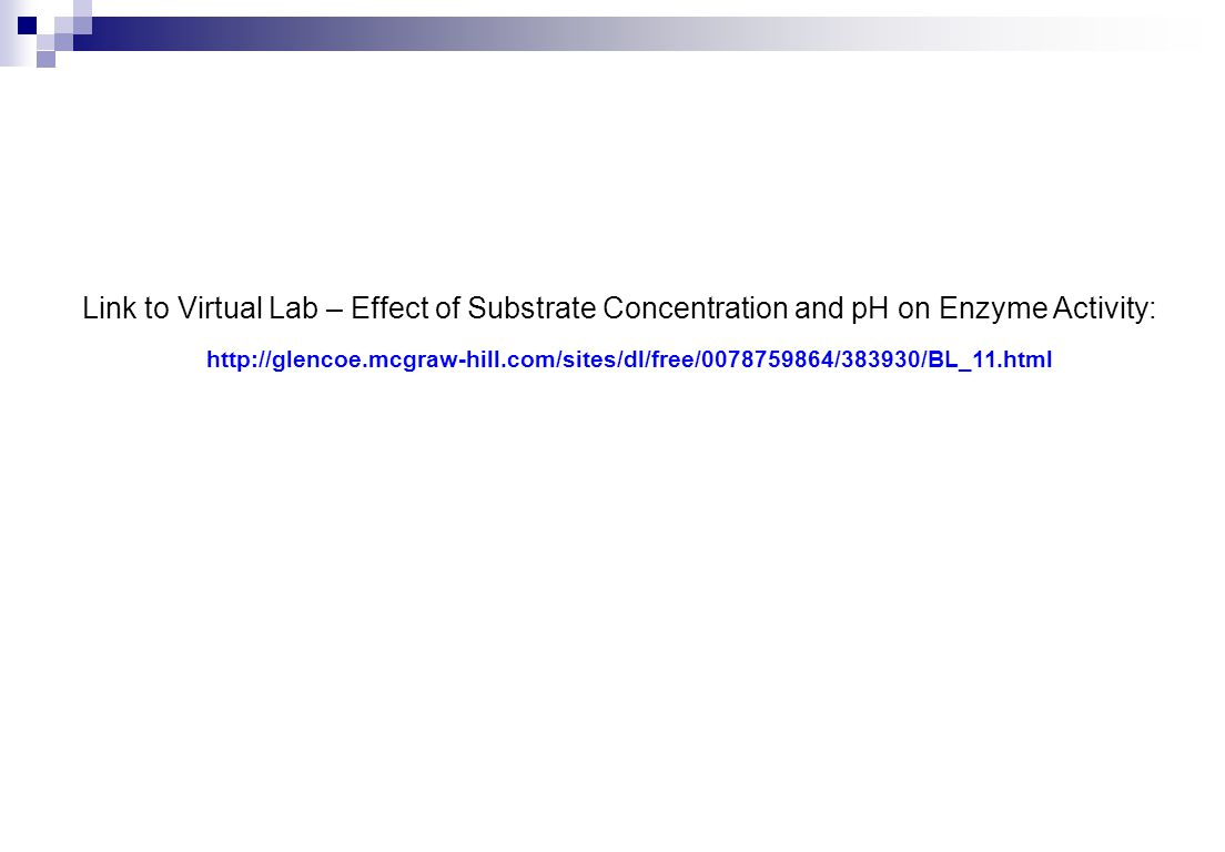 Link to Virtual Lab – Effect of Substrate Concentration and pH on Enzyme Activity: