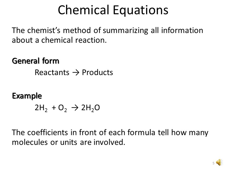 a description of a chemical reaction 37 writing and balancing chemical equations a chemical equation is a shorthand description of a chemical reaction, using symbols and formulas to represent the elements and compounds involved.