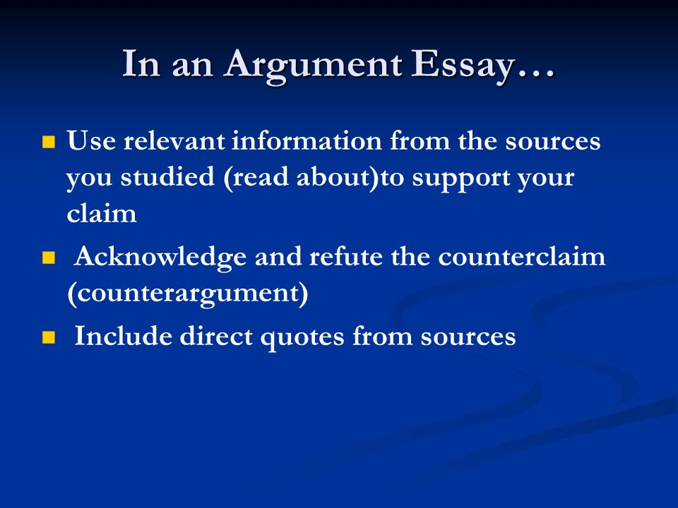 argumentation essays I writing an argumentative essay the argumentative essay, although bearing many similarities to the persuasive (argument) essay, has several very distinct differences.