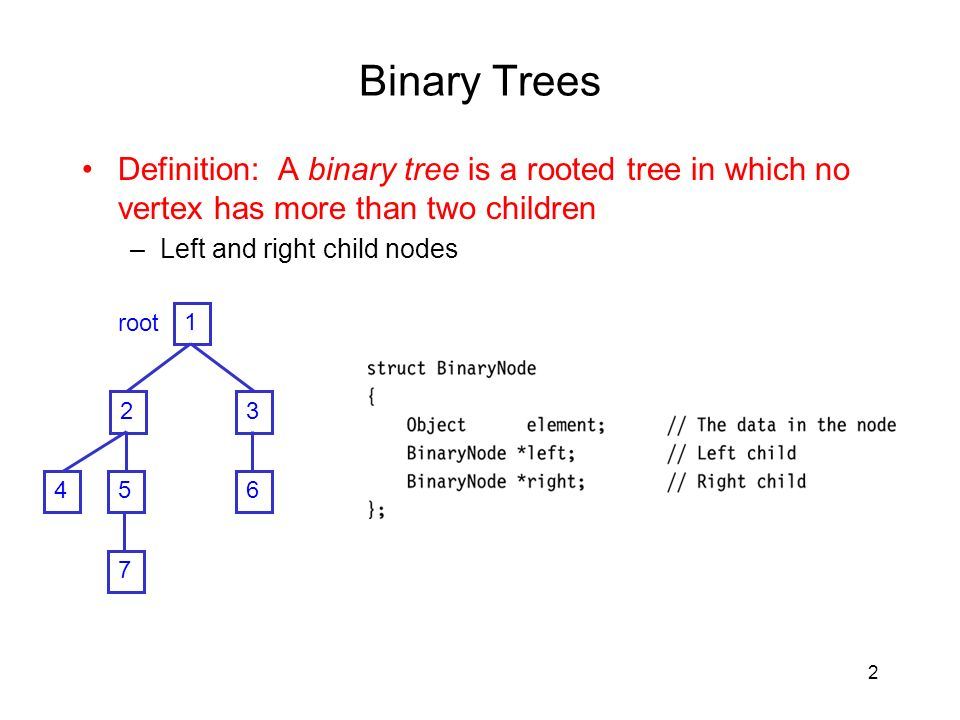 2 Binary Trees Definition: A binary tree is a rooted tree in which no vertex has more than two children –Left and right child nodes root 7