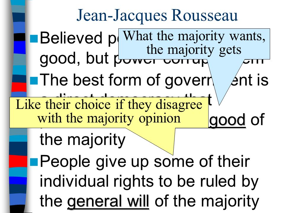 Jean-Jacques Rousseau Believed people are naturally good, but power corrupts them direct democracy common good The best form of government is a direct democracy that promotes the common good of the majority general will People give up some of their individual rights to be ruled by the general will of the majority What the majority wants, the majority gets Like their choice if they disagree with the majority opinion