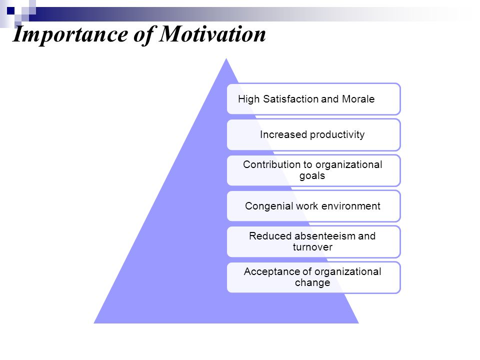 Importance of Motivation High Satisfaction and MoraleIncreased productivity Contribution to organizational goals Congenial work environment Reduced ab