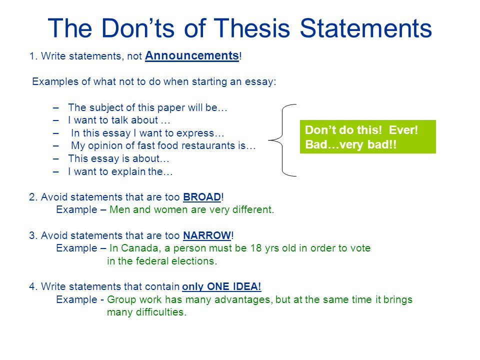 writing a good thesis statement step begin a point or the don ts of thesis statements 1 write statements not announcements