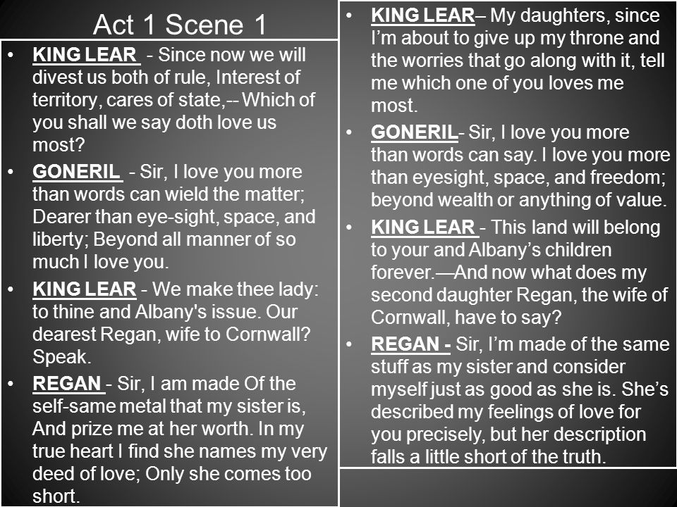 king lear act 1 scene 1 quotes essay