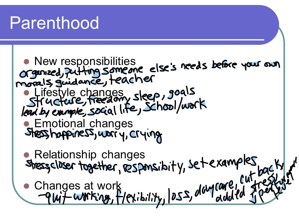 Parenthood New responsibilities Lifestyle changes Emotional changes Relationship changes Changes at work
