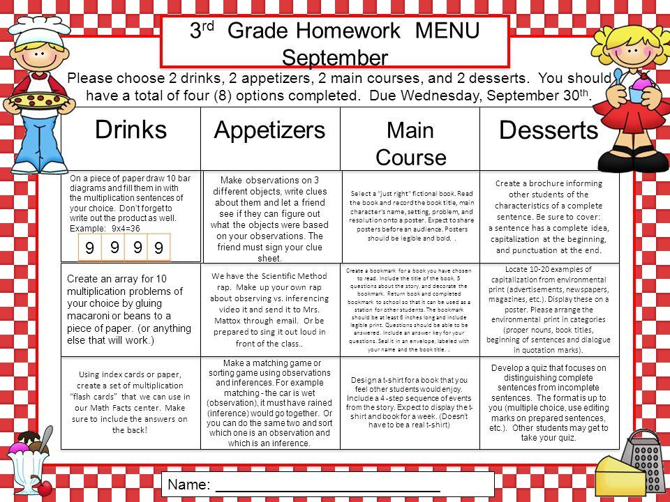 3 rd Grade Homework MENU September Using index cards or paper ...