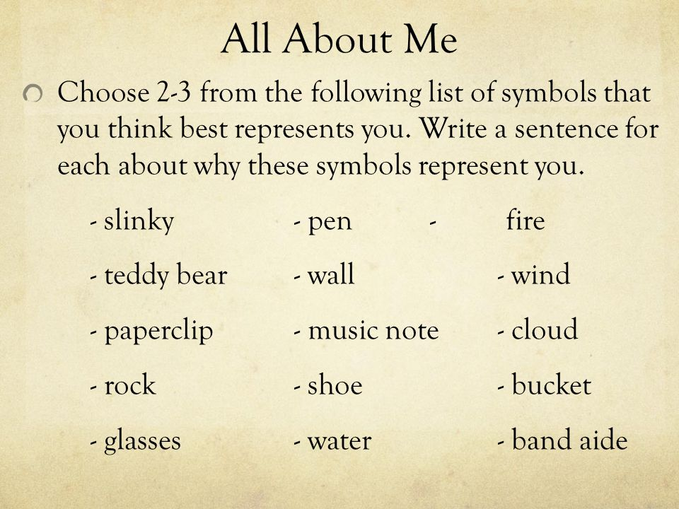 All About Me Symbolically Bellwork Please Write This On A Paper 1