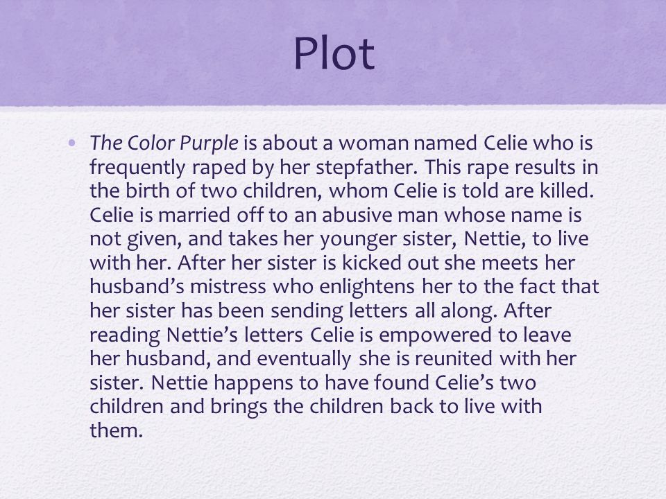 character analysis of celie the color Follow the journey of celie and shug avery during the jim crow era lesson plans include the color purple characers, summary, themes, lesson plans and unit.