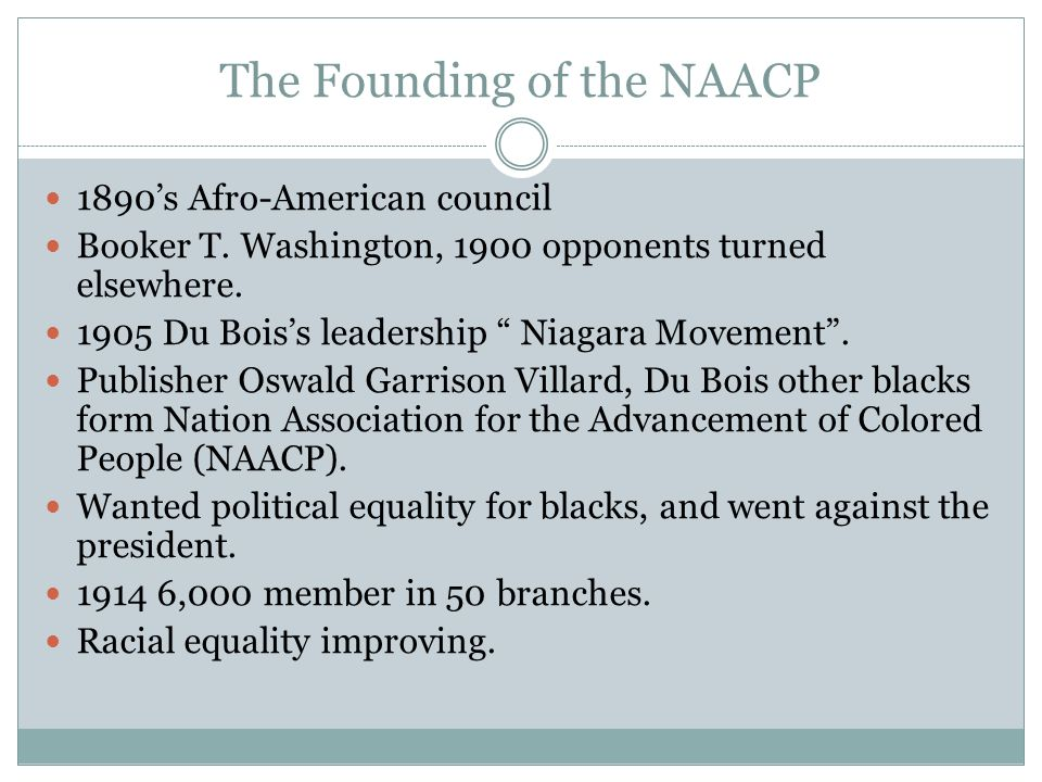 The Founding of the NAACP 1890's Afro-American council Booker T.