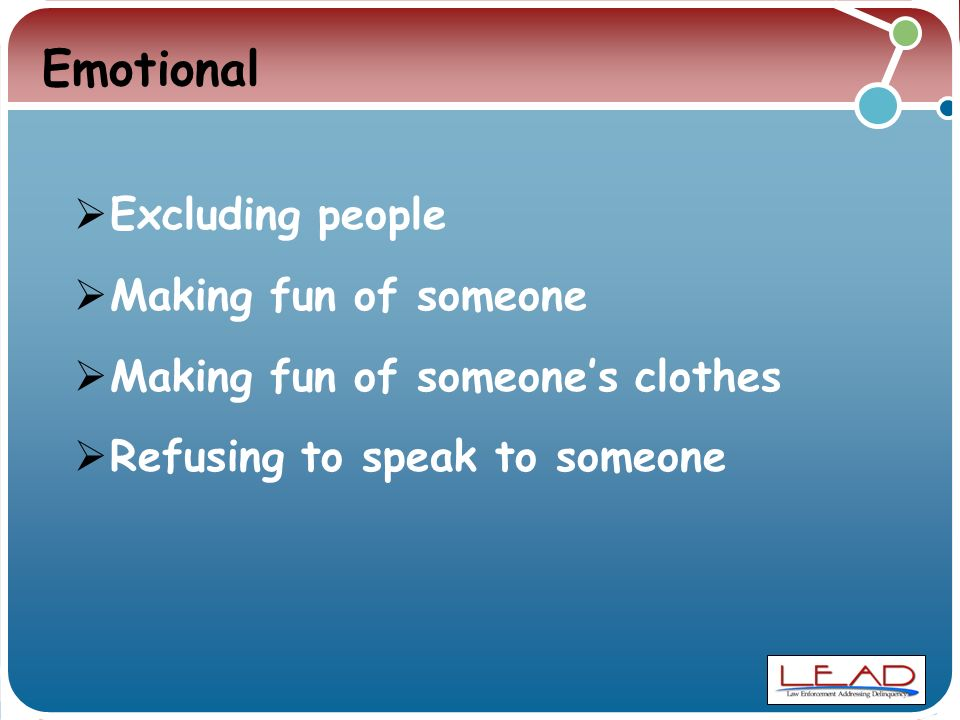 Emotional  Excluding people  Making fun of someone  Making fun of someone's clothes  Refusing to speak to someone