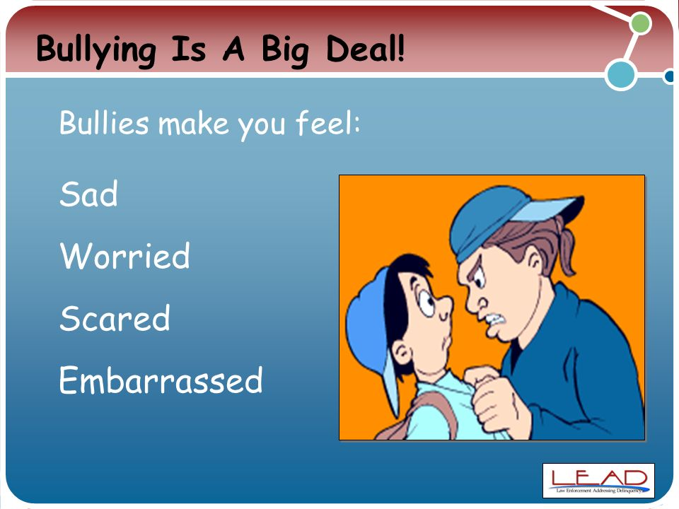 Bullying Is A Big Deal! Sad Worried Scared Embarrassed Bullies make you feel: