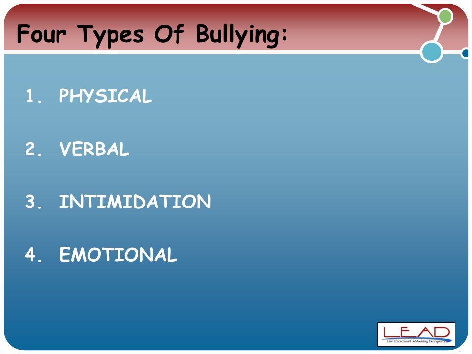 Four Types Of Bullying: 1. PHYSICAL 2. VERBAL 3. INTIMIDATION 4. EMOTIONAL