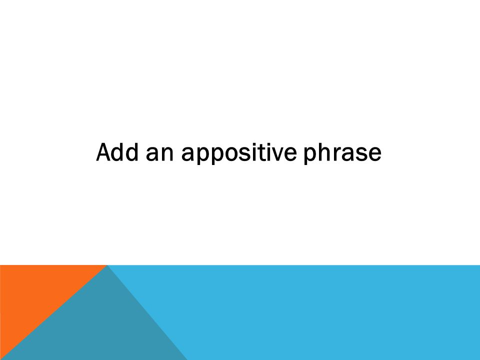 Add an appositive phrase