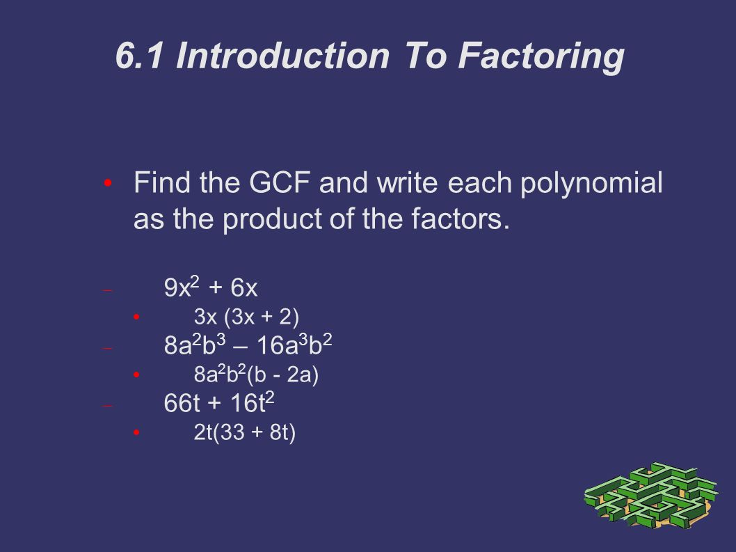6.1 Introduction To Factoring Find the GCF and write each polynomial as the product of the factors.