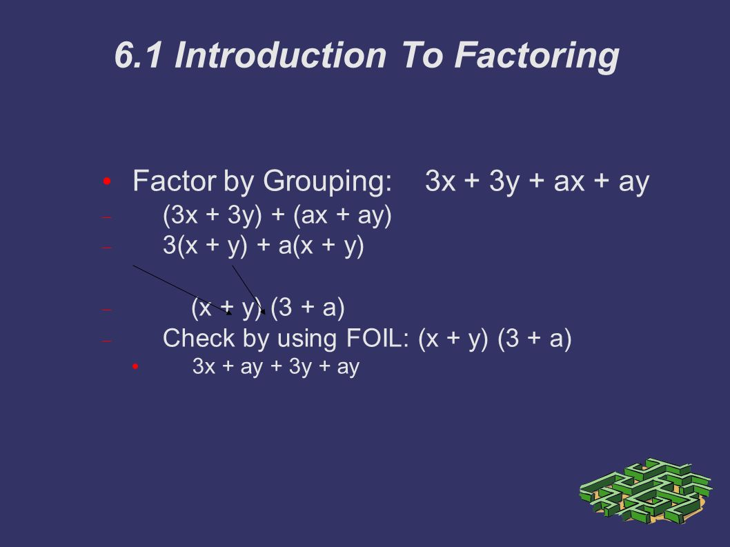 6.1 Introduction To Factoring Factor by Grouping: 3x + 3y + ax + ay  (3x + 3y) + (ax + ay)  3(x + y) + a(x + y)  (x + y) (3 + a)  Check by using FOIL: (x + y) (3 + a) 3x + ay + 3y + ay