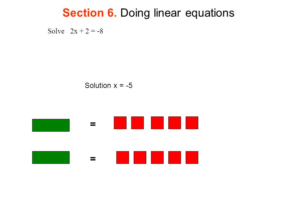 Section 6. Doing linear equations Solve 2x + 2 = -8 = = Solution x = -5