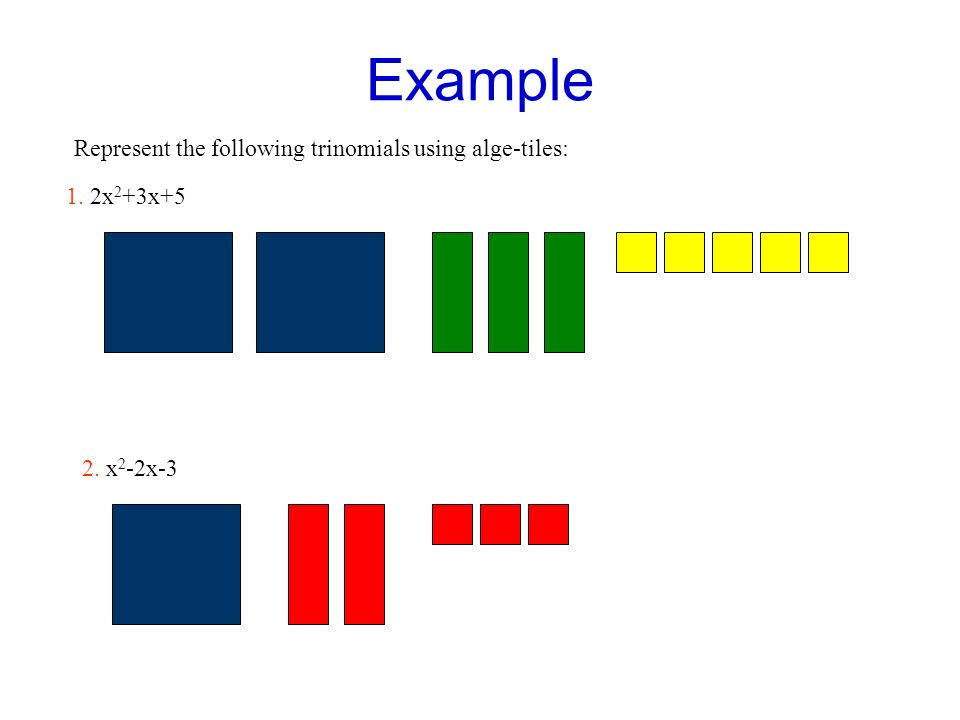 Example Represent the following trinomials using alge-tiles: 1. 2x 2 +3x+5 2. x 2 -2x-3