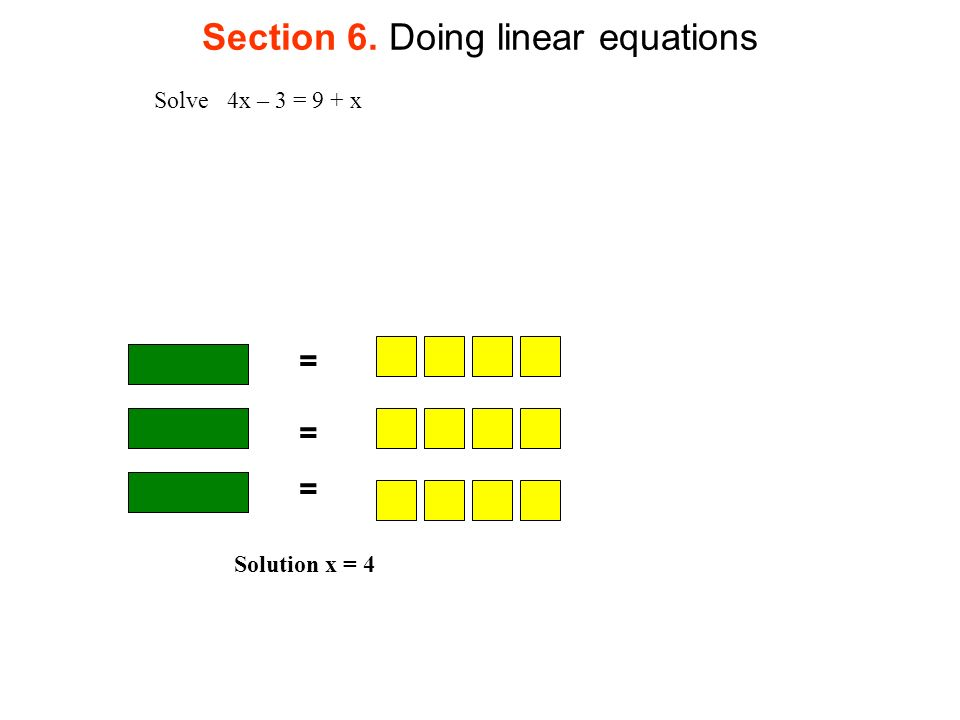 Section 6. Doing linear equations = Solve 4x – 3 = 9 + x = = Solution x = 4