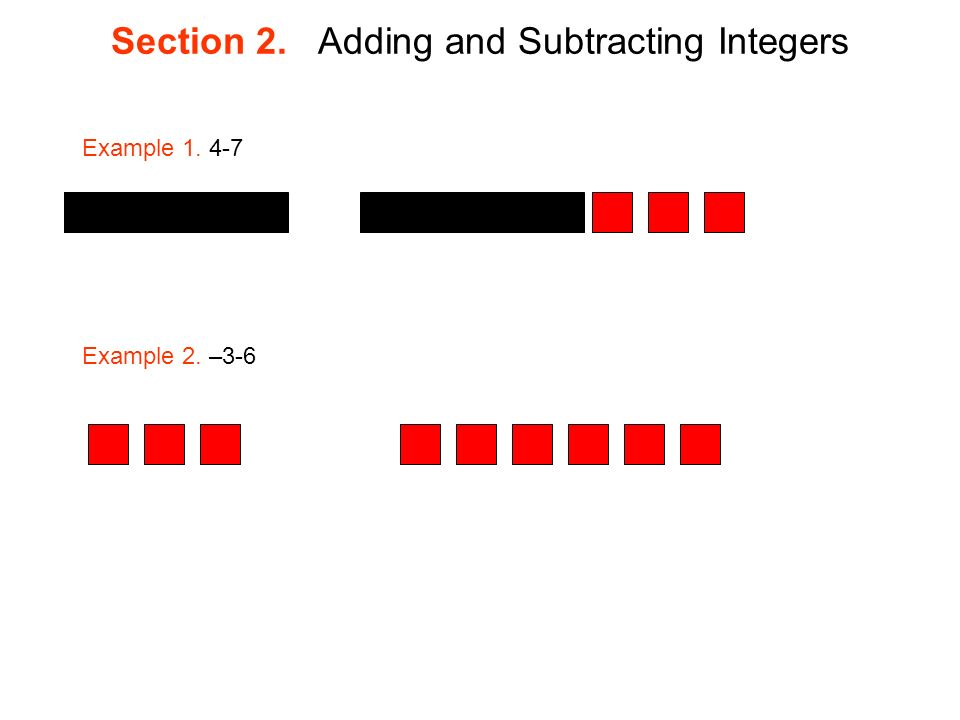 Section 2. Adding and Subtracting Integers Example Example 2. –3-6