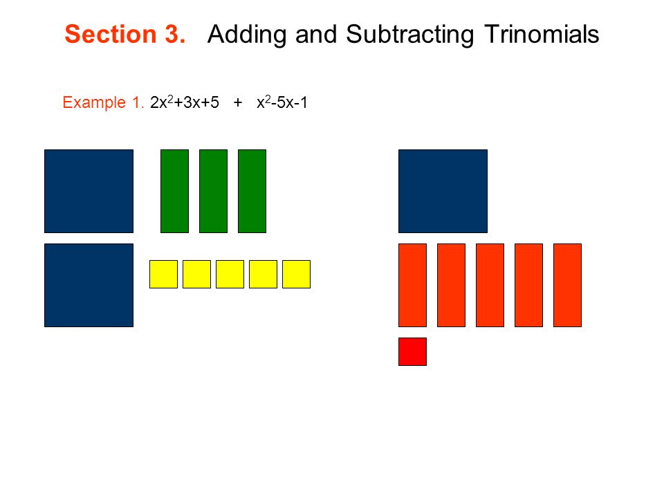 Section 3. Adding and Subtracting Trinomials Example 1. 2x 2 +3x+5 + x 2 -5x-1
