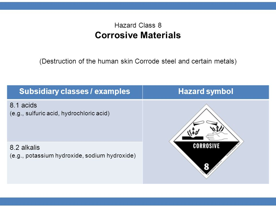Subsidiary classes / examplesHazard symbol 8.1 acids (e.g., sulfuric acid, hydrochloric acid) 8.2 alkalis (e.g., potassium hydroxide, sodium hydroxide) Hazard Class 8 Corrosive Materials (Destruction of the human skin Corrode steel and certain metals)