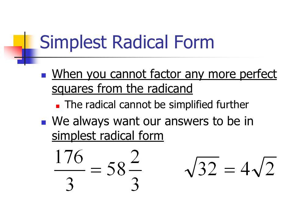 Radicals Review 4 April Parts Coefficient Radical Sign Radicand ...